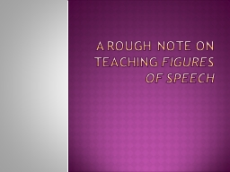 A ROUGH NOTE ON TEACHING