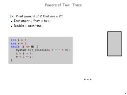 1 Powers of Two:  Trace