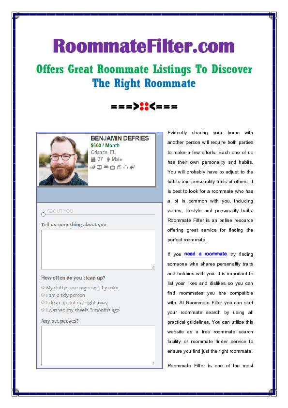 Roommate Filter Offers Great Roommate Listings