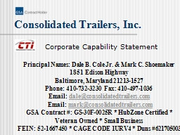 Consolidated Trailers, Inc. PowerPoint PPT Presentation