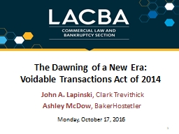 The Dawning of a New Era: Voidable Transactions Act of 2014