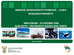 MARINE BIODIVERSITY EVIDENCE � A DEA RESEARCH PRIORITY