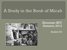 A Study in the Book of Micah