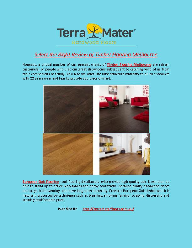 Select the Right Review of Timber Flooring Melbourne