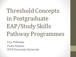 Threshold Concepts PowerPoint PPT Presentation