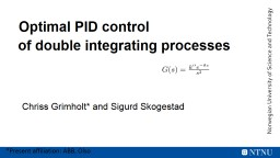Optimal PID control PowerPoint PPT Presentation