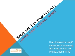 Tutor.com For Your Students