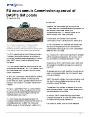 EU court annuls Commission approval of BASFs GM potato