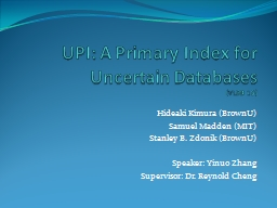 UPI: A Primary Index for Uncertain Databases