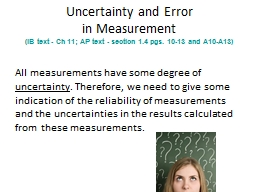 Uncertainty and Error