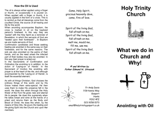 Holy Trinity Church What we do in Church and Why Anoin