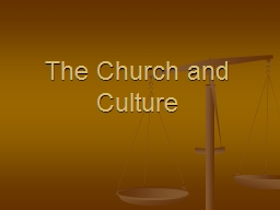 The Church and Culture