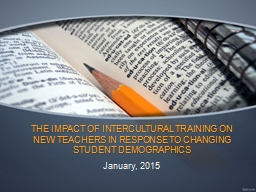THE IMPACT OF INTERCULTURAL TRAINING ON NEW TEACHERS IN RES