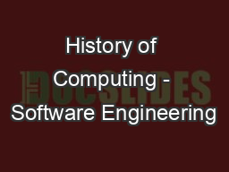 History of Computing - Software Engineering