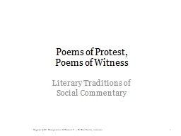 Poems of Protest, PowerPoint PPT Presentation
