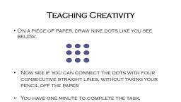 Promoting Creativity in the Classroom PowerPoint PPT Presentation