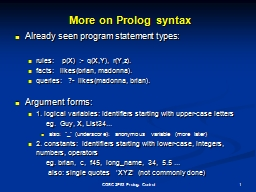 More on Prolog syntax