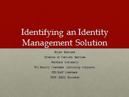 Identifying an Identity Management Solution PowerPoint PPT Presentation