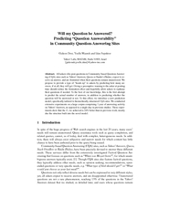 Will my Question be Answered Predicting Question Answe