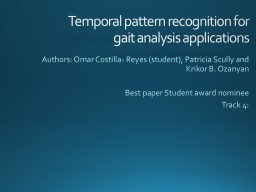 Pattern recognition in gait activities