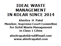 IDEAL WASTE MANAGEMENT PowerPoint PPT Presentation