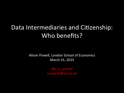 Data Intermediaries and Citizenship: Who benefits?