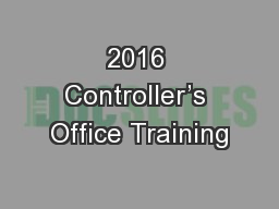 2016 Controller's Office Training