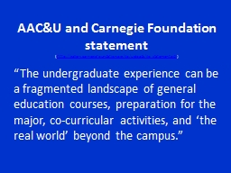 AAC&U and Carnegie Foundation statement
