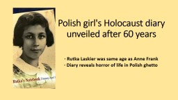 Polish girl's Holocaust diary unveiled after 60 years