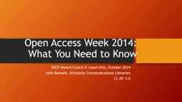Open Access Week 2014: What You Need to Know