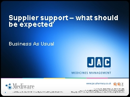 Supplier support – what should be expected'