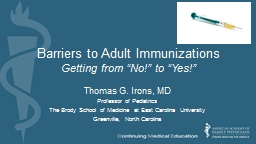 Barriers to Adult Immunizations