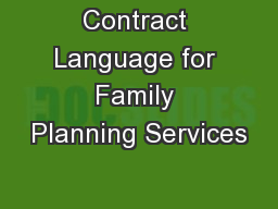 Contract Language for Family Planning Services