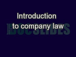 Introduction to company law PowerPoint PPT Presentation