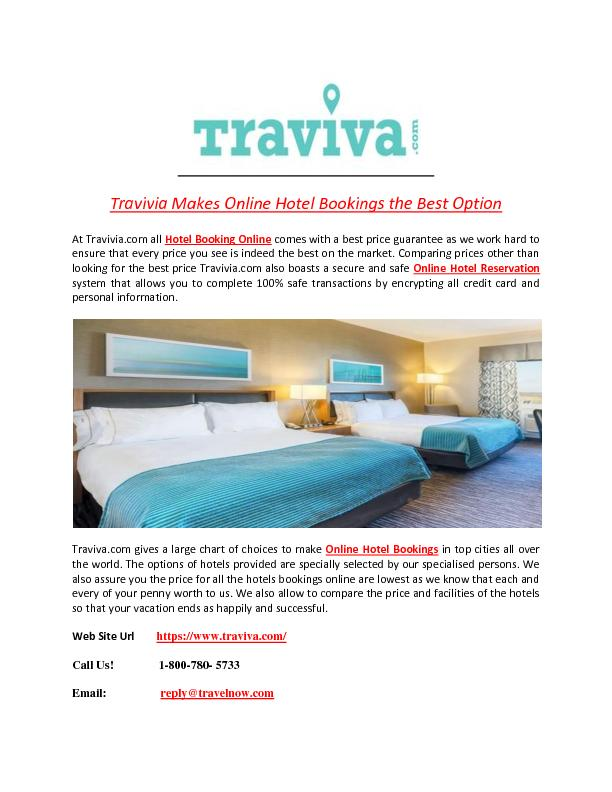 Traviva Makes Online Hotel Bookings the Best Option