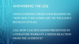 Answering the LEQ PowerPoint PPT Presentation