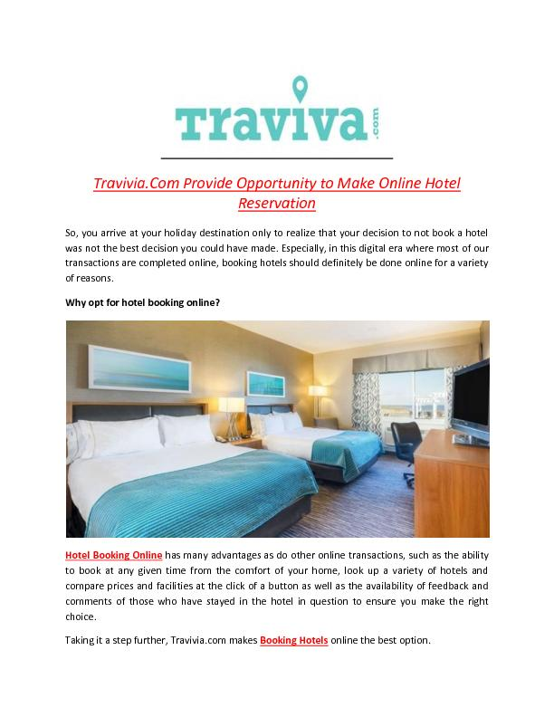 Travivia.Com Provide Opportunity to Make Online Hotel Reservation