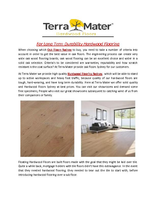 For Long Term Durability Hardwood Flooring