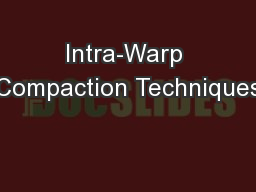 Intra-Warp Compaction Techniques