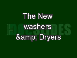 The New washers & Dryers