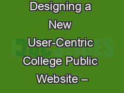 Designing a New User-Centric College Public Website –