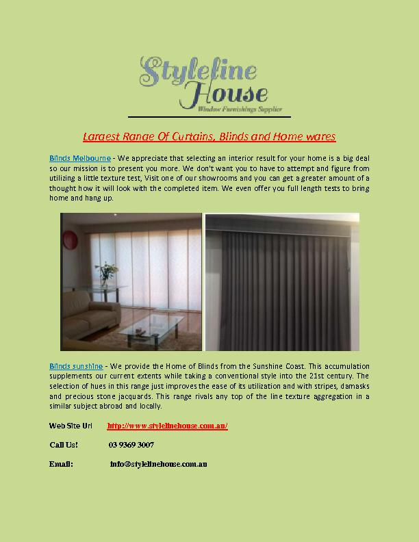Largest Range Of Curtains, Blinds and Home wares