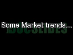 Some Market trends…