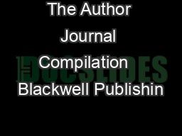 The Author Journal Compilation   Blackwell Publishin