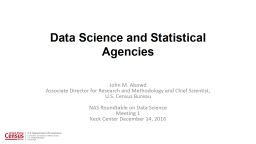 Data Science and Statistical Agencies