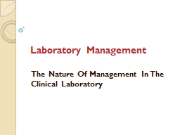 Laboratory Management PowerPoint PPT Presentation