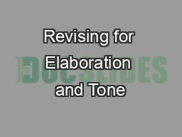 Revising for Elaboration and Tone