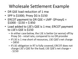 Wholesale Settlement Example