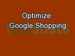 Optimize Google Shopping