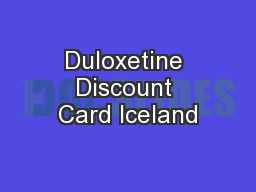 Duloxetine Discount Card Iceland